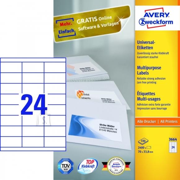 Avery Zweckform Etiketid Zweckform 3664 70x33,8mm A4/100L