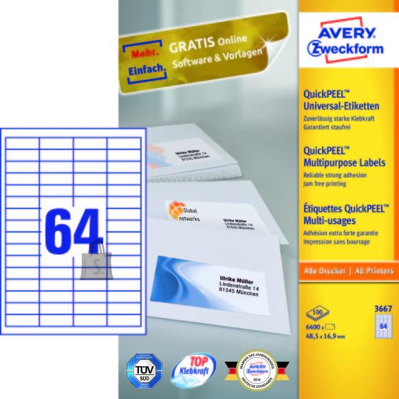 Avery Zweckform Etiketid Zweckform 3667 48,5x16,9mm A4/100L