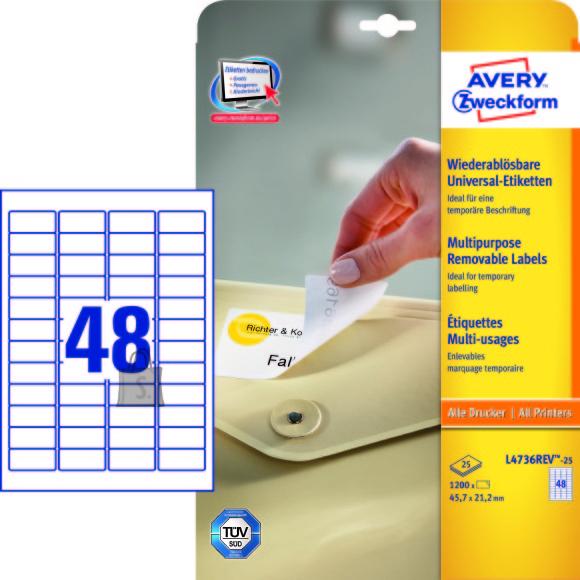 Avery Zweckform Etiketid Zweckform L4736REV-25 45,7x21,2mm A4/25L eemaldatavad (48tk lehel)