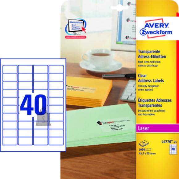 Avery Zweckform Etiketid Zweckform L4770-25 45,7x25,4mm A4/25L läbipaistev polüester