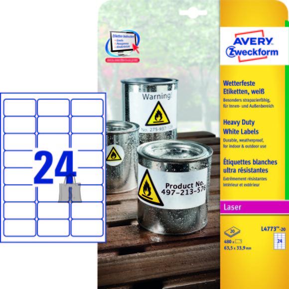 Avery Zweckform Etiketid Zweckform L4773-20 63,5x33,9mm A4/20L polüester ilmastikukindel, valge