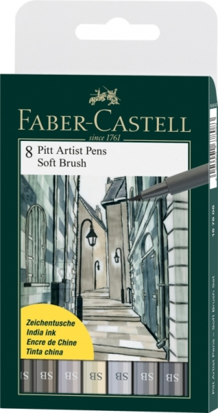 Faber-Castell Pintsel-pliiats Faber-Castell PITT artist pen SB värv 8tk/pk