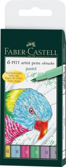 Faber-Castell Pintsel-pliiats Faber-Castell PITT artist pen B pastell 6tk/pk