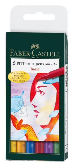 Faber-Castell Pintsel-pliiats Faber-Castell Pitt Artist Pen Basic Colors 6-värvi