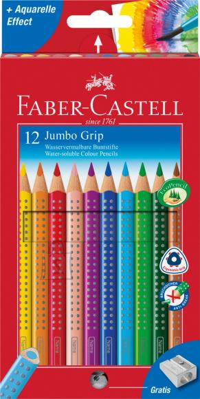 Faber-Castell Värvipliiatsid Faber-Castell Jumbo Grip 12-värvi + teritaja