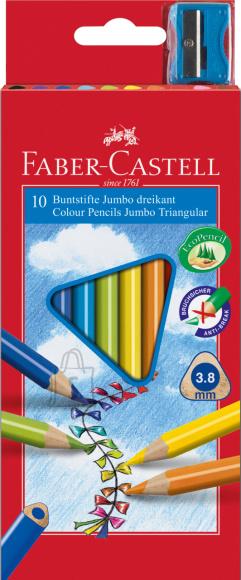 Faber-Castell Värvipliiatsid Faber-Castell Junior 10-värvi kolmetahulised + teritaja