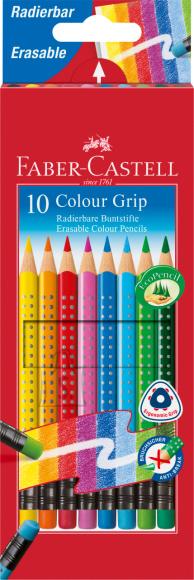 Faber-Castell Värvipliiatsid Faber-Castell Grip 2001 10-värvi, kolmnurksed värviliste kustukummidega