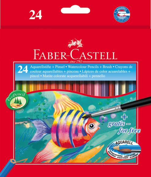 Faber-Castell Akvarellpliiatsid Faber-Castell Fish/Kala 24 värvi+pintsel
