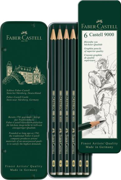 Faber-Castell Harilik pliiats Faber-Castell 9000 6tk/pk