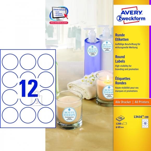 Avery Zweckform Etiketid Zweckform L3416-100 ring 60mm A4/100L valge