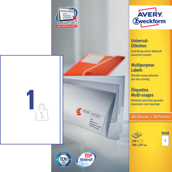 Avery Zweckform Etiketid Zweckform 3418 210x297mm A4/100L äärega