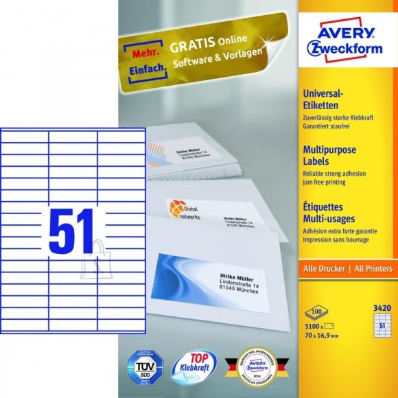 Avery Zweckform Etiketid Zweckform 3420 70x16,9mm A4/100L