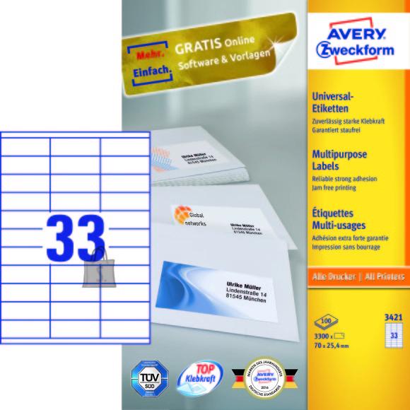 Avery Zweckform Etiketid Zweckform 3421 70x25,4mm A4/100L