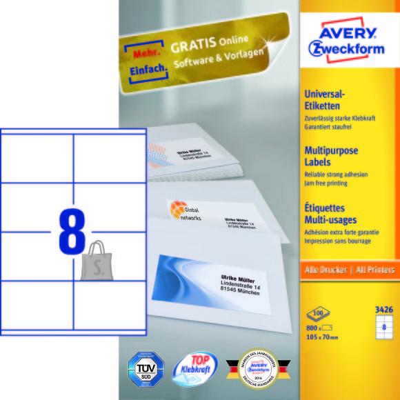 Avery Zweckform Etiketid Zweckform 3426 105x70mm A4/100L