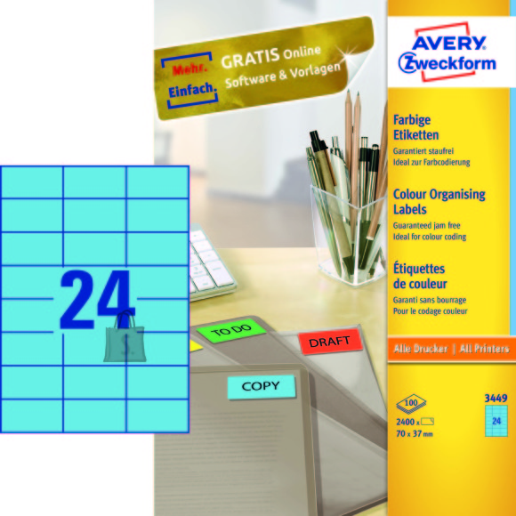 Avery Zweckform Etiketid Zweckform 3449 70x37mm A4/100L sinine