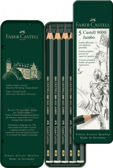 Faber-Castell Harilik pliiats Faber-Castell 9000 Jumbo 5tk/pk metall pinalis