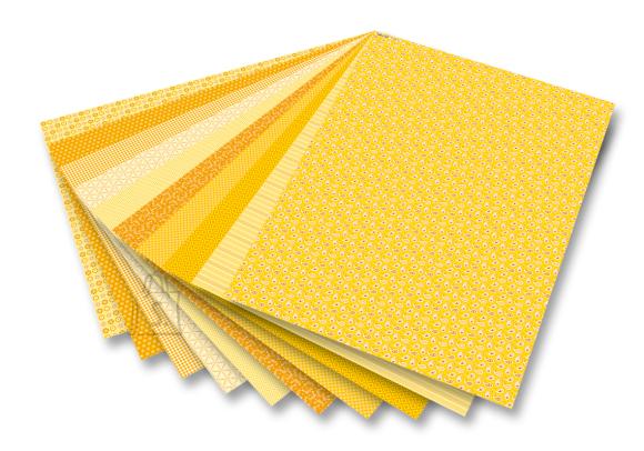Folia Motiivpaber Basics Folia kollane 24x34 cm 30lehte assortii