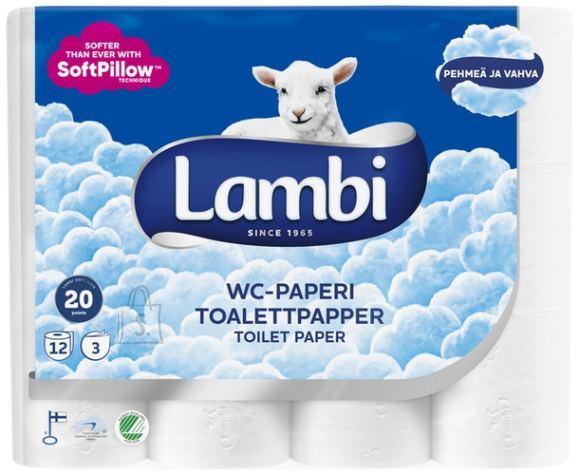 Tualettpaber Lambi 3-kihiline, valge, 12rl/pk (5pk/kott) (P)