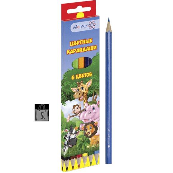 Värvipliiatsid Attomex Zoo 6-värvi