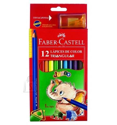 Faber-Castell *Värvipliiatsid Faber-Castell Ecopen Jumbo 12-värvi kolmetahulised+teritaja