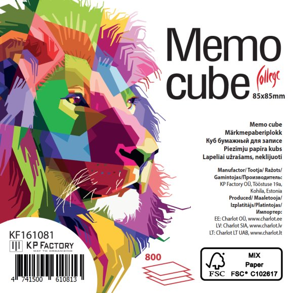 College Märkmekuup KPF College 85x85/800l, värviline 4 värvi, lahtised lehed