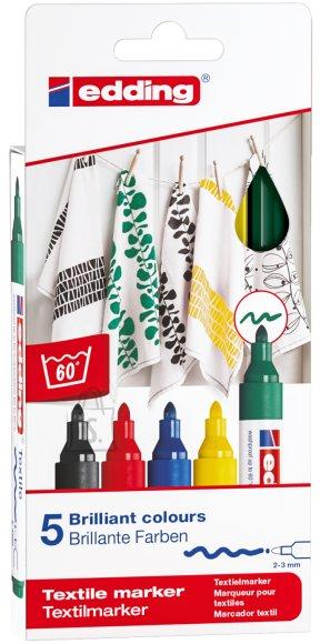 edding Tekstiilimarker Edding 4500 5- põhivärvi