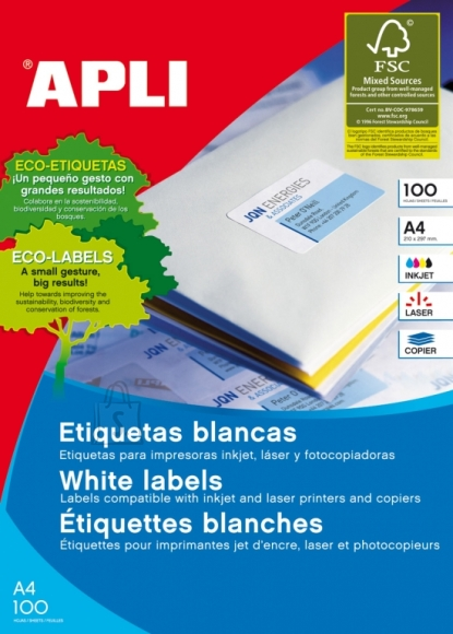 Etiketid Apli 1292 105x70mm A4/100L