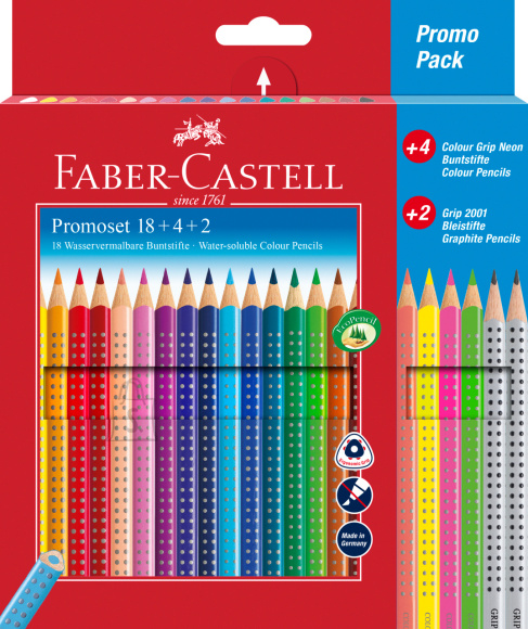 Faber-Castell Värvipliiats Faber-Castell Grip 18-värvi neon+2 hariliku