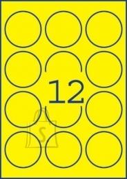Avery Zweckform *Etiketid Zweckform L7670Y-25 ring 63,5mm A4/25L neoonkollane