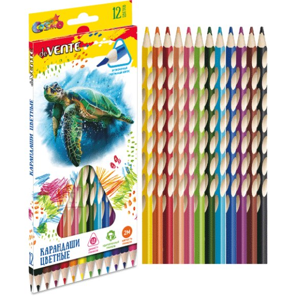 Värvipliiatsid deVENTE Cosmo 12-värvi ergonoomilised kolmetahulised
