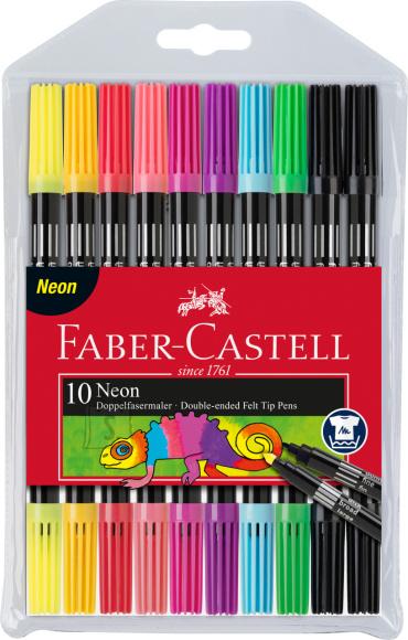 Faber-Castell Viltpliiatsid Faber-Castell 2-otsaga 10-värvi neoon