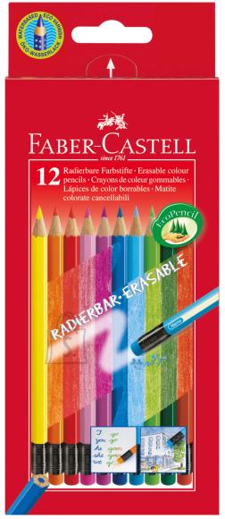 Faber-Castell Värvipliiatsid Faber-Castell 12-värvi, värviliste kustukummidega