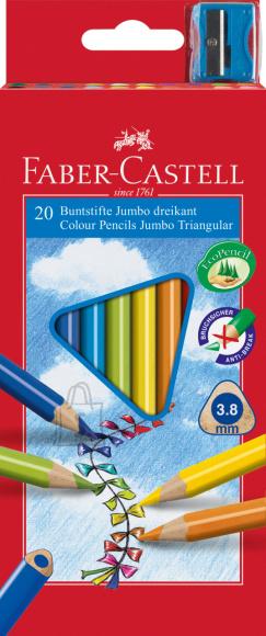 Faber-Castell Värvipliiatsid Faber-Castell Junior 20-värvi kolmetahulised + teritaja