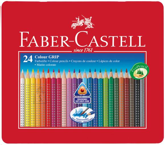 Faber-Castell Värvipliiatsid Faber-Castell Grip 2001 24-värvi metallkarbis