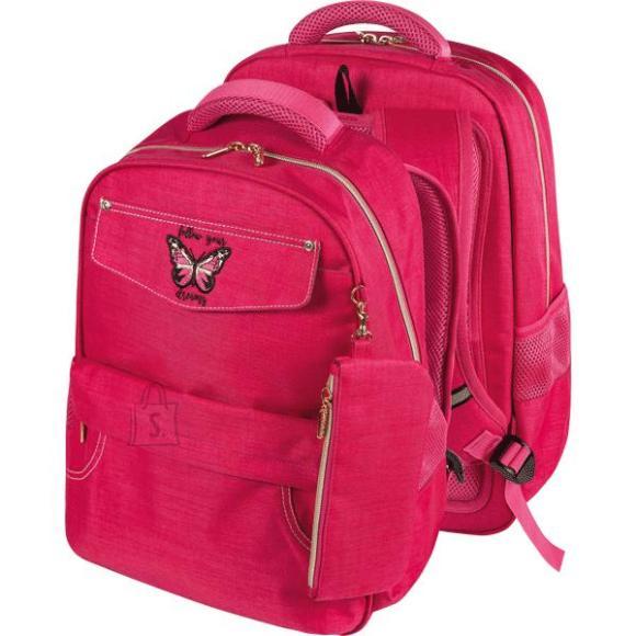 *Koolikott deVENTE Butterfly 39x30x15cm, tekstiil, roosa