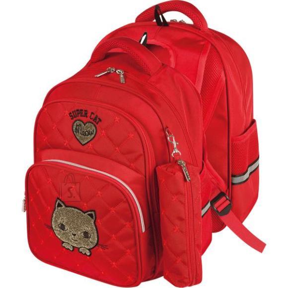*Koolikott deVENTE Super Cat 39x30x13cm, tepitud tekstiil, punane