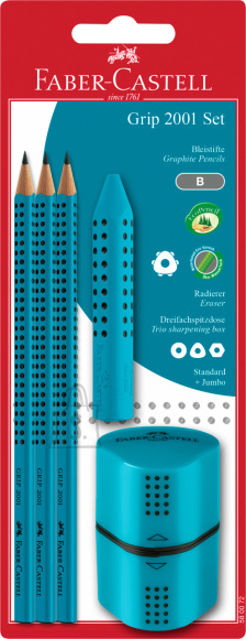 Faber-Castell Pliiatsikomplekt Faber-Castell Jumbo Grip 3tk türkiis + kustukumm ja teritaja