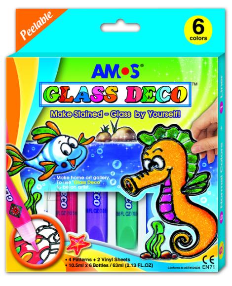 Amos Klaasivärvidekomplekt Amos 6 värvi 10,5ml