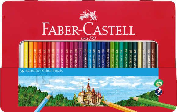 Faber-Castell Värvipliiatsid Faber-Castell 36-värvi metallkarbis
