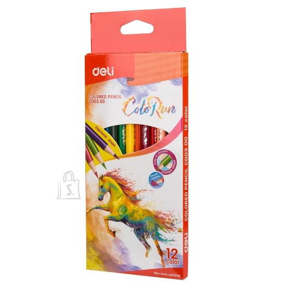 Värvipliiatsid DELI 12-värvi, kolmekandilised