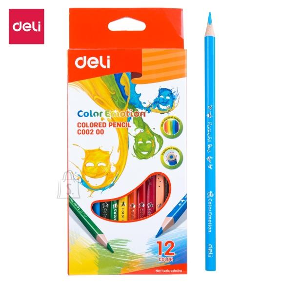 Värvipliiatsid DELI 12-värvi, kolmetahulised