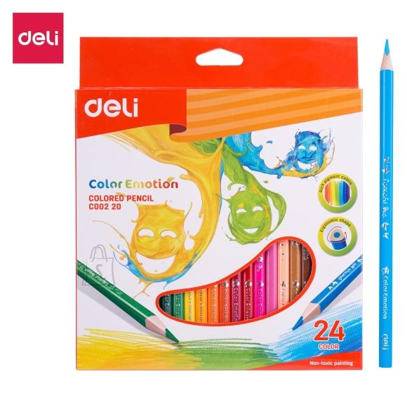 Värvipliiatsid DELI 24-värvi, kolmetahulised