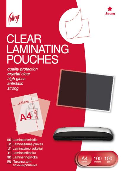 College Lamineerimiskile College Antistatic A4 (216x303mm) 100mic/100L, läbipaistev