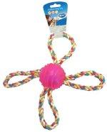 Duvo+ Koeralelu pall köiest 4 sangaga 27 cm, sinine/roosa