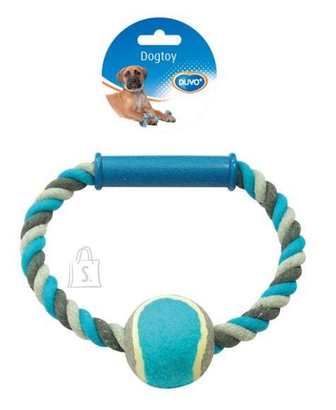 Duvo+ koera nöörlelu rõngas tennisepalliga 18 cm, hall/sinine