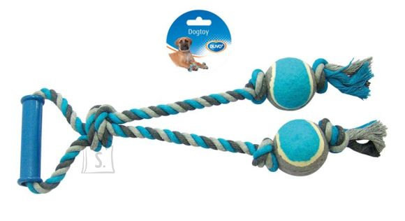 Duvo+ Nöörlelu 2 tennisepalliga 43 cm, hall/sinine