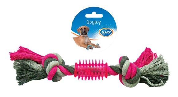 Duvo+ koera nöörlelu 2 sõlme ja ogaline kumm 28 cm, hall/roosa