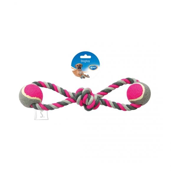 Duvo+ nöörlelu kaheksa 2 tennisepalliga 38 cm, hall/roosa