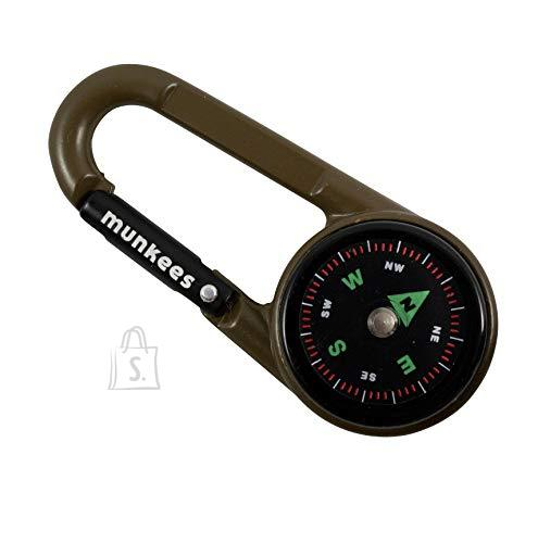 Munkees 3in1 karabiin, kompass, termomeeter must - KARABIIN KOMPASSI JA TERMOMEETRIGA