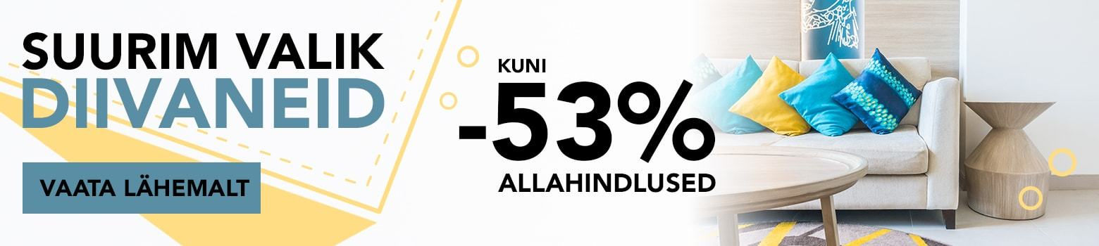 Suurim valik diivaneid. Allahindlused kuni -53%